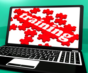 Training Puzzle On Notebook Shows Webinars And Online Lessons