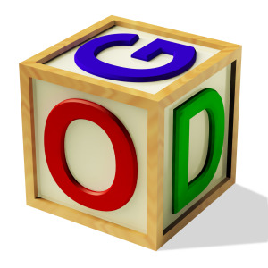 Block Spelling God As Symbol for Faith And Religion