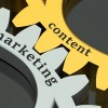 Content marketing concept isolated on black background